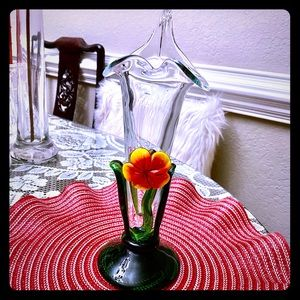VINTAGE BEAUTIFUL HANDBLOWN 3D ART GLASS VASE